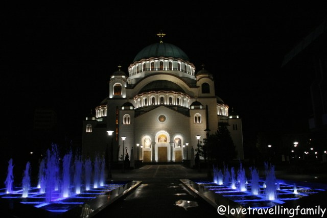 The Church of Saint Sava at night, Serbia, Belgrade with kids, Love travelling family