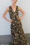 Długa letnia sukienka w panterkę