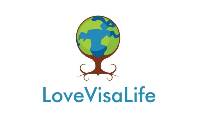 Logo for LoveVisaLife picturing a globe inside a tree that looks like hand and roots