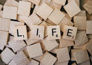 Scrabble tiles spelling the word Life