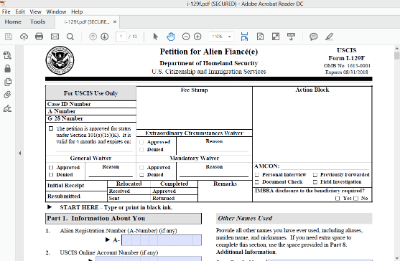 Using Adobe Acrobat Reader To File Uscis Forms I 129F 130