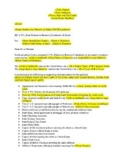 USCIS I 751 Removal of Conditions Cover Letter Example ...