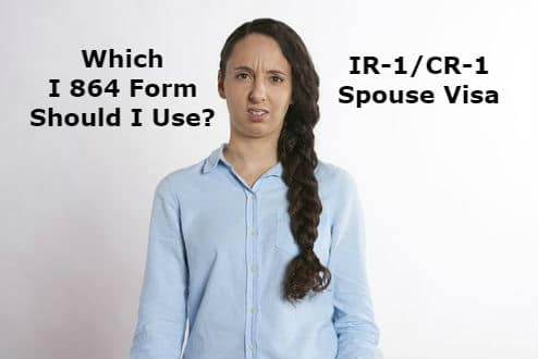 Woman confused about which I 864 form she should use.