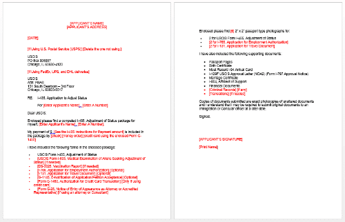 I 485 Ajustment Of Status Cover Letter Example Ex