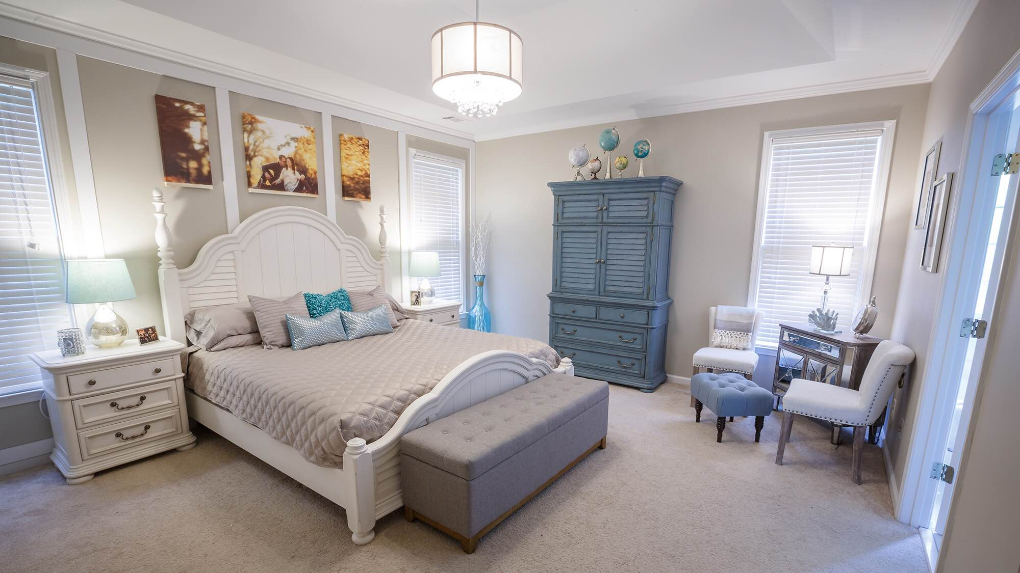 Their Master Bedroom Is A Beautiful Mix Of Beachy Farmhouse And Modern Glam.  The Chandelier Was From Pier 1 Imports And The Tufted Bench Was From  Homegoods.