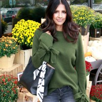Tie Sleeve Sweater and Platform Loafers