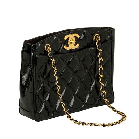 chanel vintage bag. chanel vintage cc black patent shopper bag