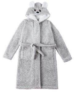 Bear Hooded Thicken Flannel Bathrobe