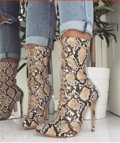 Lace-Up Snake Skin Printed Boots