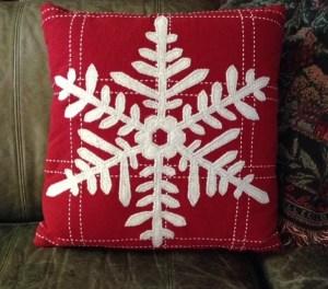 snowflake red pillow