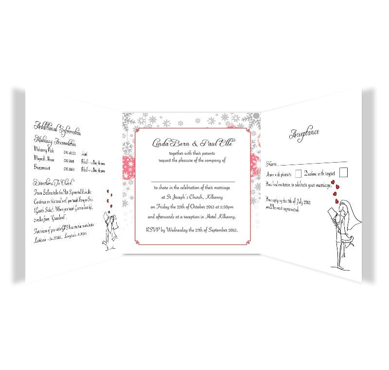 Christmas Stick Couple Tri Fold Wedding Invite Amp Rsvp