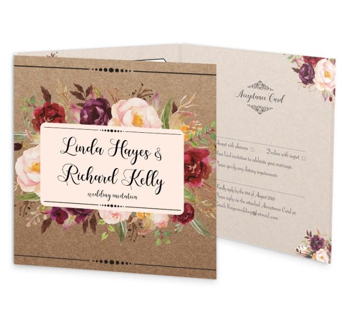 Burgundy Boho Tri Fold Wedding Invite