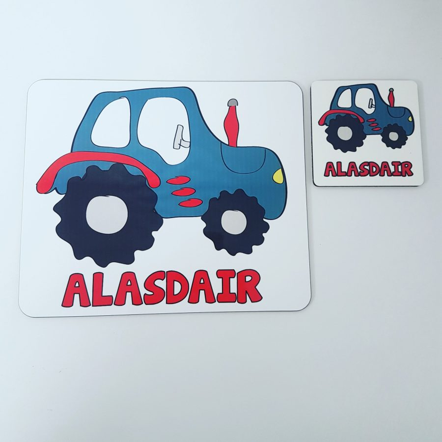 Personalised placemat set with tractor design