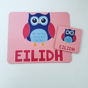 Personalised girly pink owl placemat and coaster