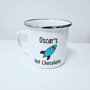 Enamel mug with rocket design