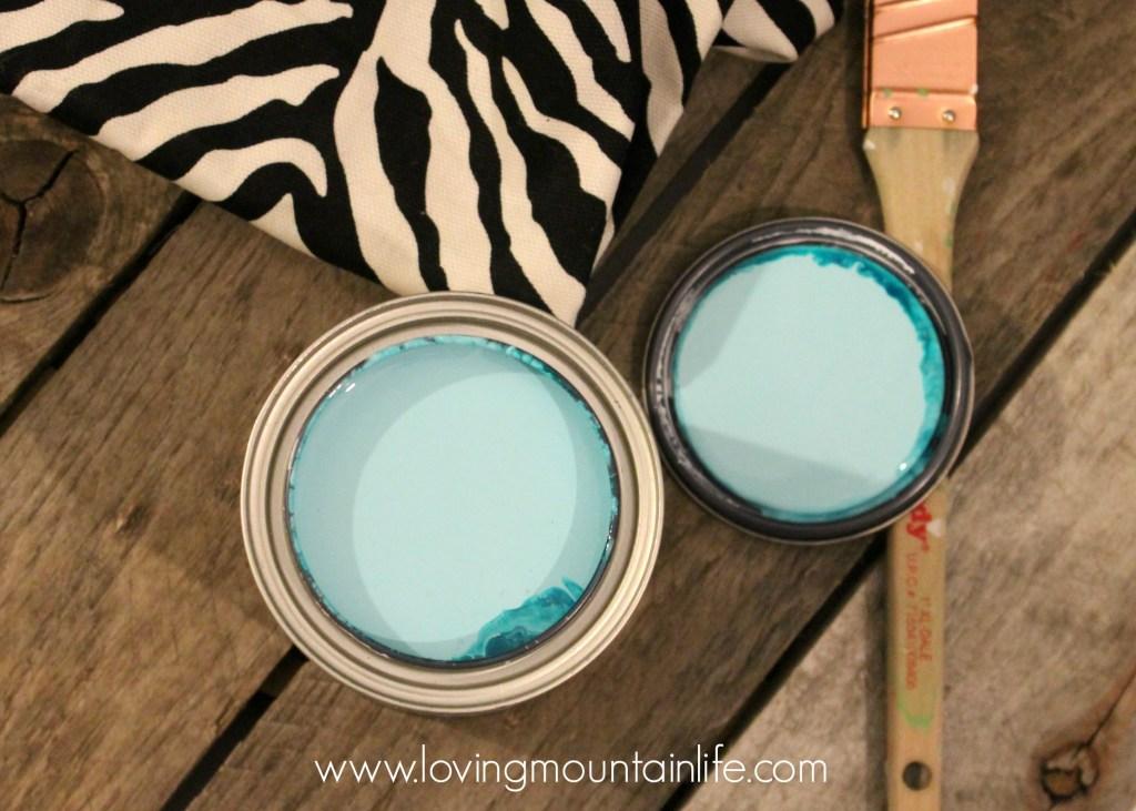 DIY Desk Aqua and Zebra Desk Makeover from Loving Mountain Life