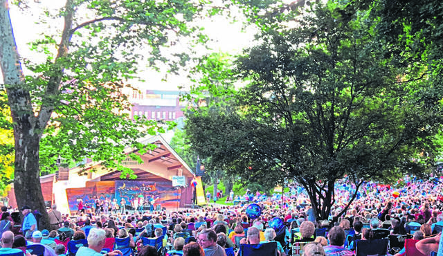 Russian band Leonid & Friends take the stage at St. Clair Park in Greensburg on Friday, June 28, 2019.