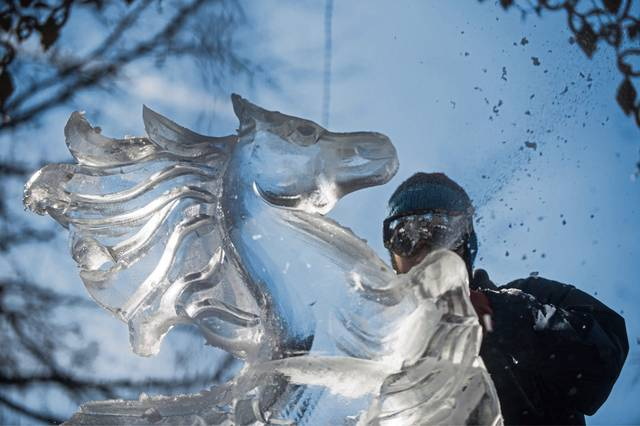 The 29th annual Ligonier Ice Fest is scheduled for Jan. 25 and 26 on the Ligonier Diamond and surrounding streets. Here, ice sculptor Jared McAlister of DeMartino Ice Co. in Jeannette carves during the 2018 festival.