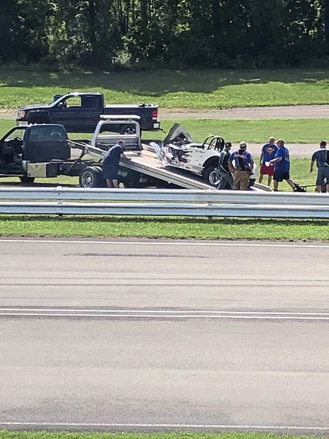 The remnants of a 1936 Ford Roadster is loaded onto a tow truck at Keystone Raceway in Derry Township after it crashed, killing the driver on Friday, July 24, 2020.