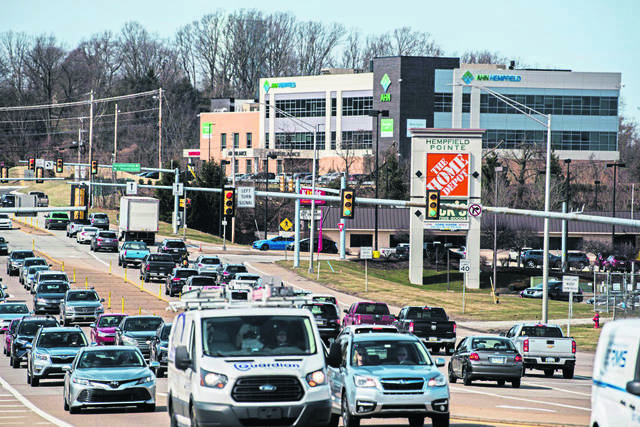 Traffic makes its way along Route 30 near the Rt. 66 interchange in Hempfield Township.