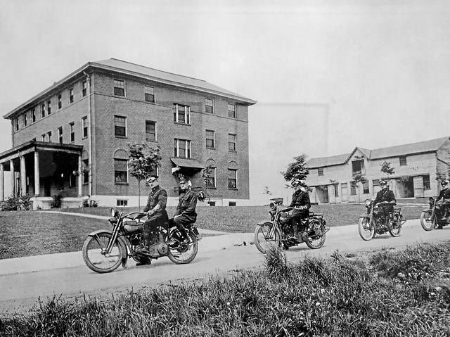 Pennsylvania State Police troopers on motorcycles in front of Troop A barracks in Greensburg, circa 1913.