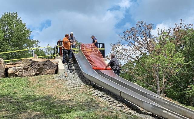 The slides at Mammoth Park were temporarily closed Tuesday as Westmoreland County officials investigate reports of injuries and evaluate their safety.