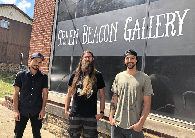 From left: Kevin Carpenter, Phil Harrold and Steve Harrold are planning to open Green Beacon Gallery, an art and music space in downtown Greensburg.
