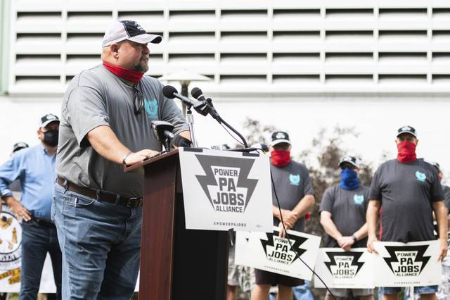 Shawn Steffee, a representative of Boilermakers Local 154, addressed a crowd of union workers last week at the Cheswick Generating Station. Although unions historically vote Democrat, Steffee says he supports Donald Trump and even filmed a television ad supporting the president.