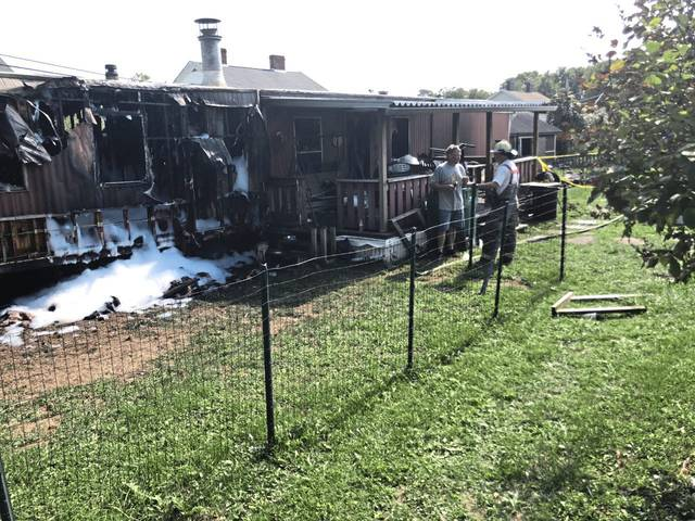 Fire destroyed this mobile home in the Marguerite neighborhood in Unity Township on Saturday.
