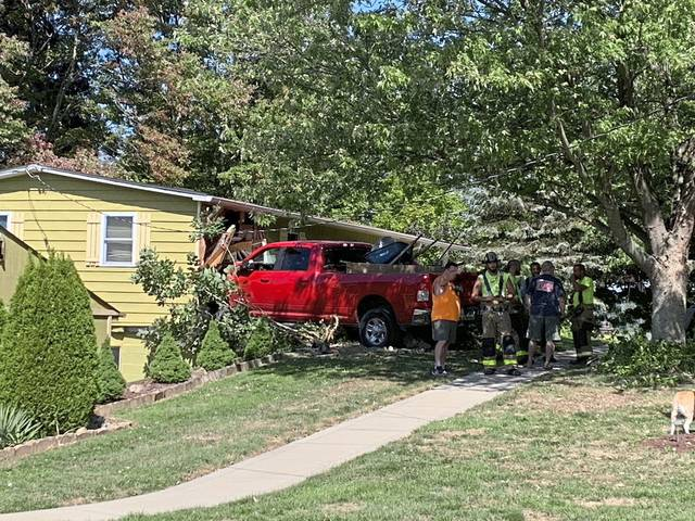 A male driver appeared to have suffered a medical emergency and crashed into a house on Boxcartown Road in Penn Township on Wednesday, Sept. 23, 2020. No one was home.