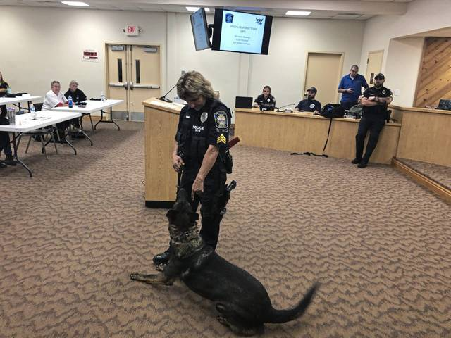 North Huntingdon Police Sgt. Kari Bauer with her police K-9, Zargo, at the township's Citizens Police Academy at the North Huntingdon Town House.