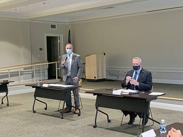 U.S. Rep. John Joyce (left) and Jim Carroll, director of the Office of National Drug Control Policy, participate in a roundtable with community leaders in Ligonier Friday.
