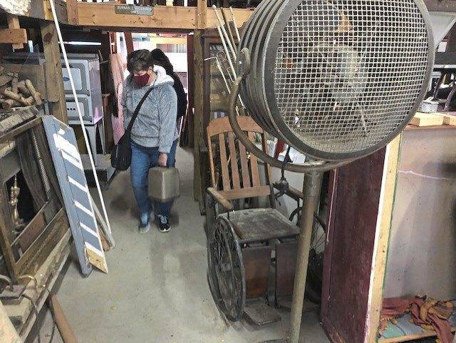 Shoppers browse through props used for productions at Apple Hill Playhouse in Delmont. Summer theater held a rummage sale of decades-old items Saturday.