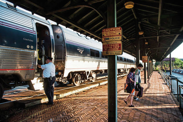 Passengers disembark from an Amtrak train in Latrobe in this 2019 file photo.