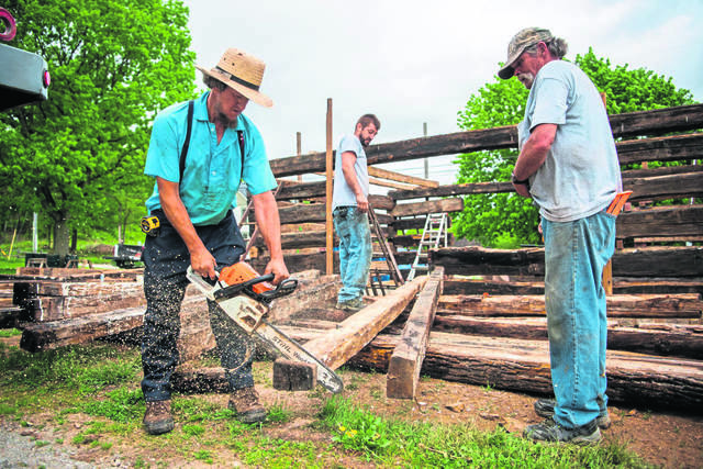 Daniel Hershberger of Punxsutawney uses a chainsaw to shape roof beam logs on the LeFevre House, an 18th century historical log cabin, on May 28, 2020 at the Historic Hanna's Town.