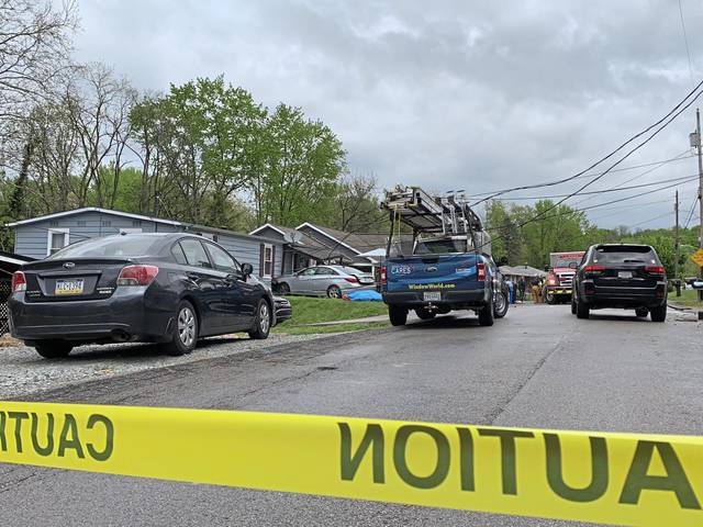 A car hit a utility pole and then slammed into a house on Sells Lane in Hempfield Monday, May 3, 2021.