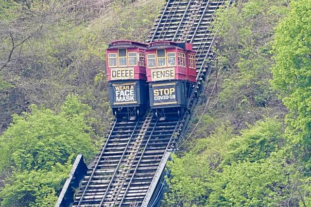 The cars of the Duquesne Incline pass each other in Pittsburgh.