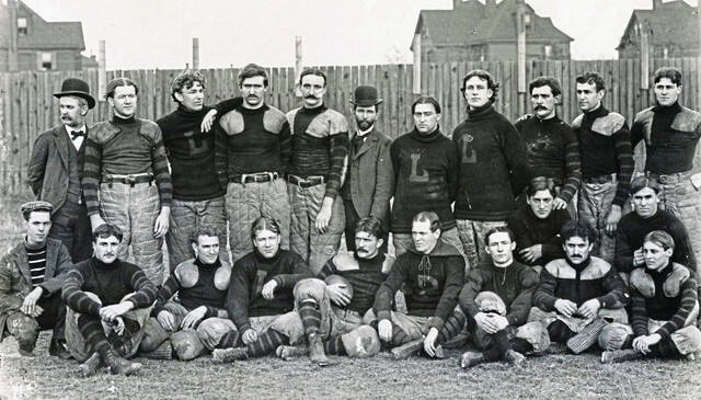 The Latrobe Athletic Association squad, seen in 1897, is cited as the first pro football team with all paid players to complete a full season.