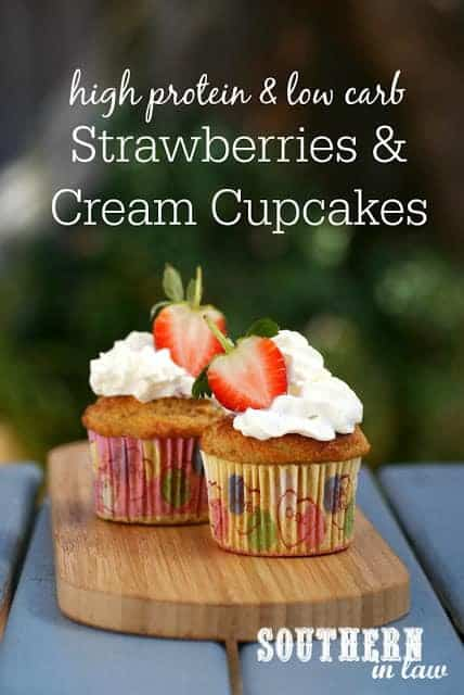 Healthy Strawberries And Cream Protein Cupcakes