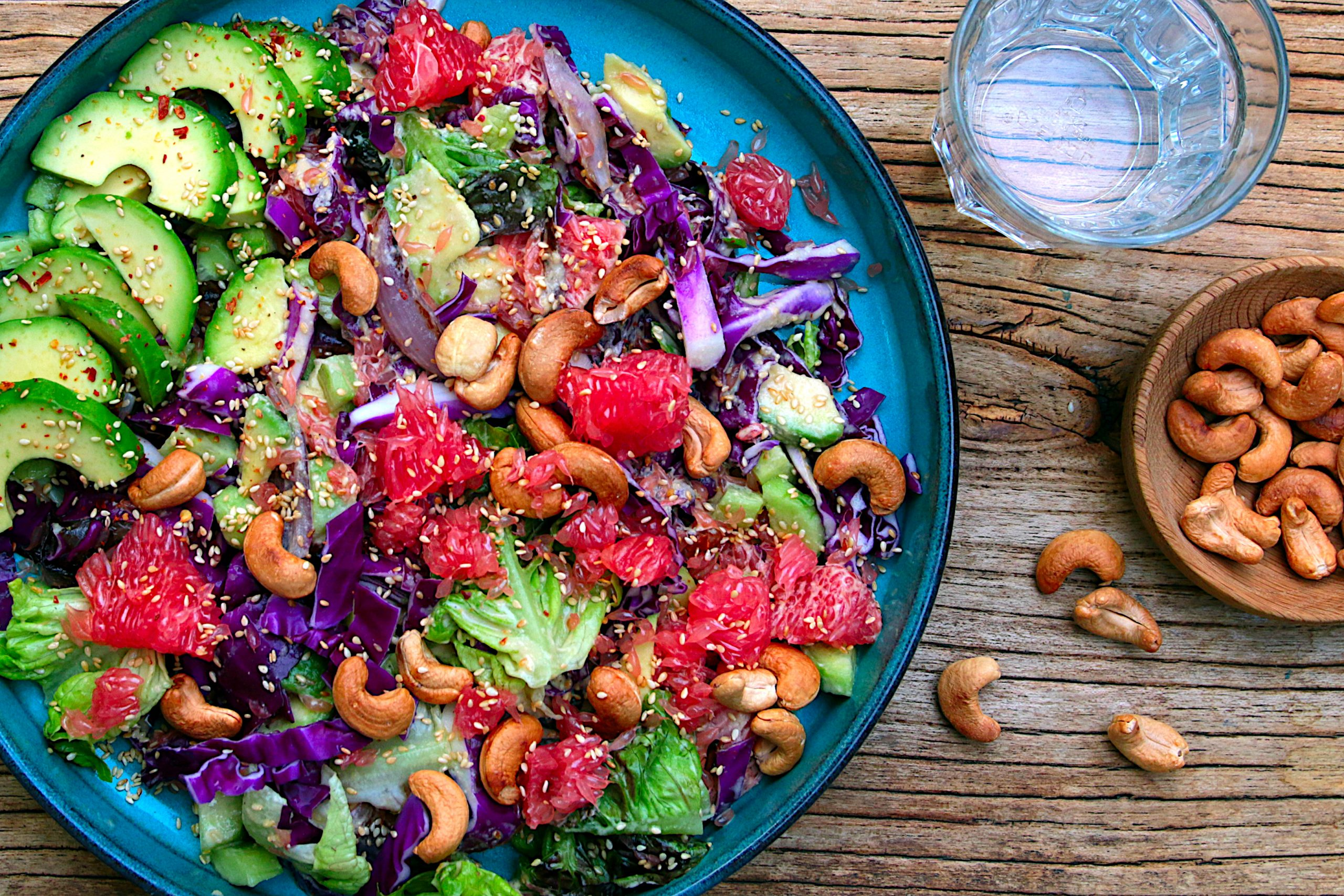 crunchy red cabbage salad with grapefruit and avocado