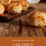 coconut macaroons on a wooden board, some of them on a small tray, with a cup of tea in the background