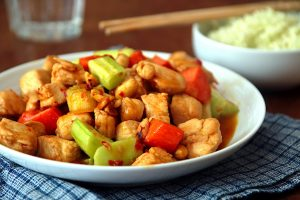 juicy kung pao chicken with peanuts
