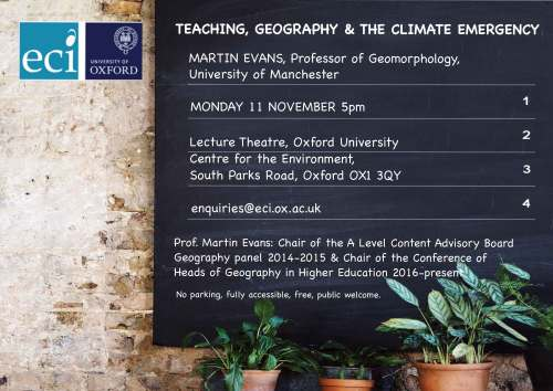 Teaching, geography and the climate emergency @ Lecture Theatre | England | United Kingdom