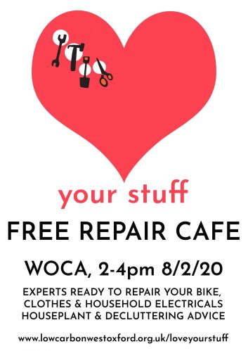 LOVE YOUR STUFF - West Oxford Repair Cafe 8/2/20 @ West Oxford Community Centre | England | United Kingdom