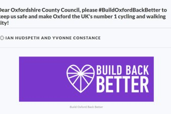 SIGN THIS – Emergency Active Travel Funding petition #BuildOxfordBackBetter