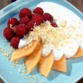Melon and Raspberry Salad with Vanilla Coconut Sauce | Low-Carb, So Simple!