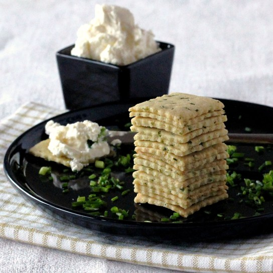 Chives and Sour Cream Crackers; Stack of Crackers, Cream Cheese in the Background | Low-Carb, So Simple!