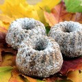 Low-Carb Cinnamon Bundt Cake, Three Individual Bundt Cakes Dusted with Powdered Erythritol, Served on Maple Leaves