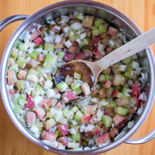 Rhubarb Chutney, All Ingredients Mixed | Low-Carb, So Simple!