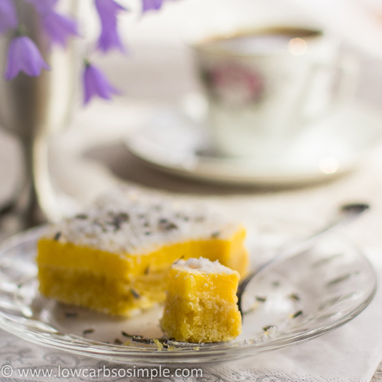 Luscious Low-Carb Lavender Lemon Bars | Low-Carb, So Simple!
